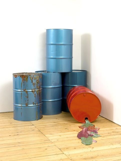 JIMMIE DURHAM Light crude, 2010 oil drums and acrylic paint oil splits