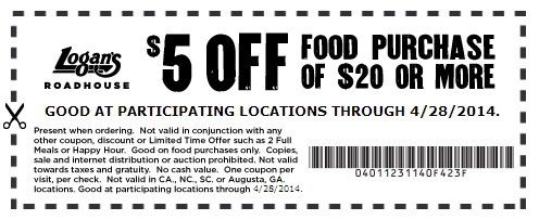 $5 Off  Expires 4/28/2014 http://www.pinterest.com/TakeCouponss/logans-roadhouse-coupons/ Logans Roadhouse Coupons