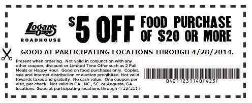 $5 Off  Expires 4/28/2014 http://www.pinterest.com/TakeCouponss/logans-roadhouse-coupons/ Logans Roadhouse Coupons