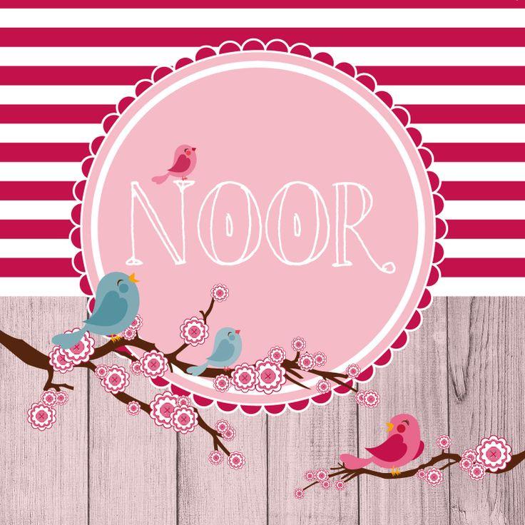 #Geboortekaartje voor Noor. Een persoonlijk en op maat gemaakt kaartje door Typischmies.nl