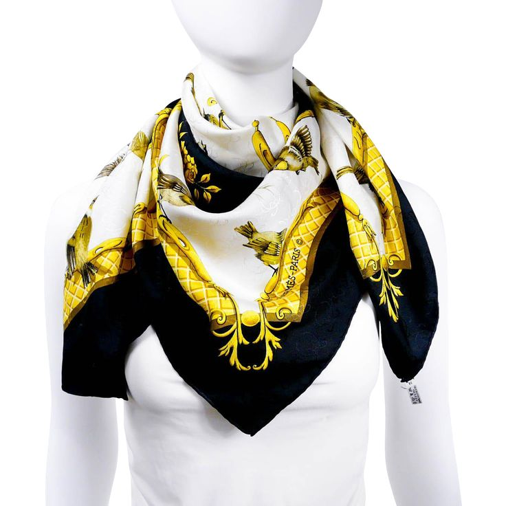 Authentic Hermes Silk Scarf La Cle Des Champs Gold Black 'H' Jacquard Early Issue w/BOX