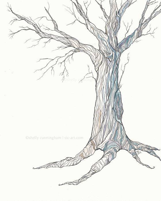 The Blue Oak  Ink and watercolor illustration  Oak by IrishShells, $22.00