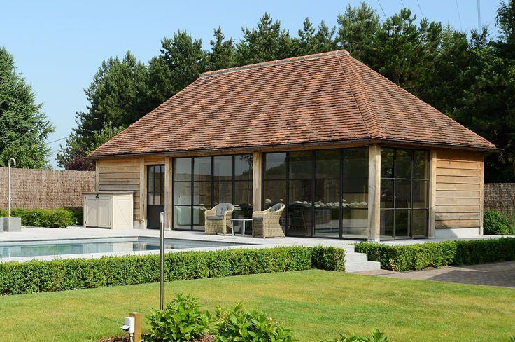 Swimmingpool Waregem Belgium oak wood poolhouse old tile panne| Aquatechno swimmingpools