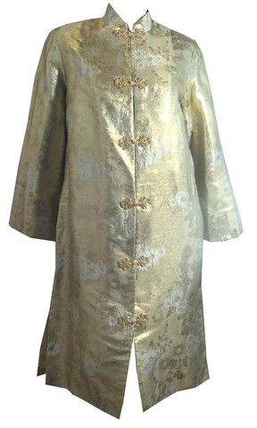 GLAMTASTIC Gold and Silver Japanese Silk Metallic Cocktail Coat circa - Dorothea's Closet Vintage
