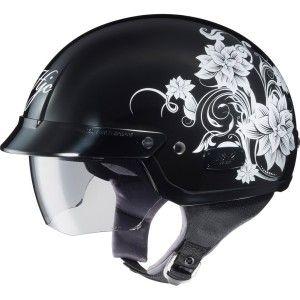 Half helmet black with roses