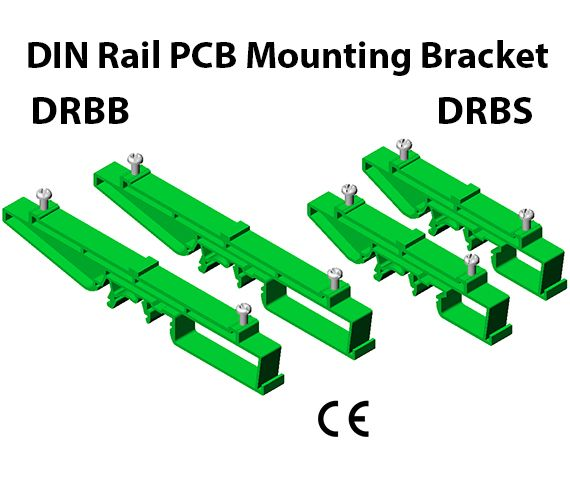 DIN Rail PCB Mounting Bracket DRBB / DRBS  Features Universal mounting 35, 15, G Rails Quick & easy mounting for all Non standard size PCB sizes Available in two sizes Big & small Material : Nylon 6.6 Color : Green & Black  Application The typical applications of DIN Rail PCB Mounting Bracket is to mount nonstandard PCB on metal din rails. It's most economical way of mounting PCB on metal rails. It provide quick & easy mounting of PCB besides other Din Rail mounted devices.