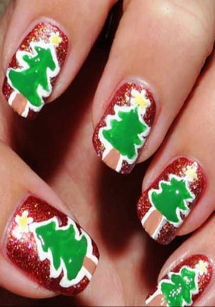 2013 Christmas tree nails, Dark Red and Green Christmas nails for girls  www.loveitsomuch.com