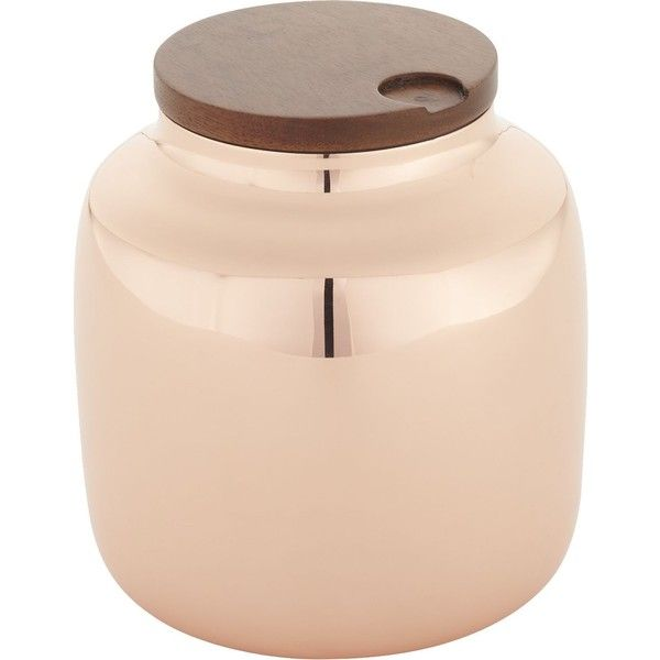 cb2 capsule copper canister rub liked on polyvore featuring home kitchen dog food storage
