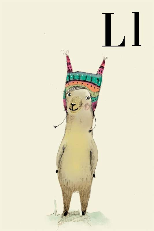 L for LLama, Alphabet animal,  Print 6x8inches. $10.00, via Etsy. (There is an animal for every  letter of the alphabet, and they are sold in various sizes.)