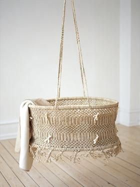 hanging shabby bassinet. (makes me a lil' nervous, but still cute!)  baby boho