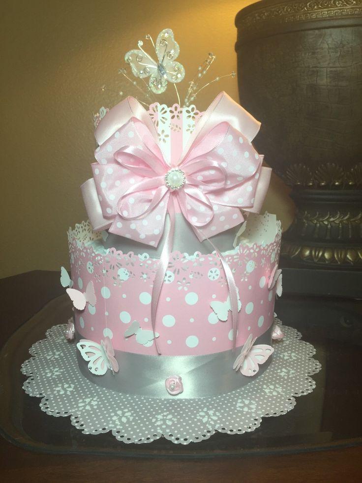 Elegant butterfly diaper cake -sweet pink diaper cake -two tier diaper cake  by CreationsbyLumy on Etsy https://www.etsy.com/listing/234033369/elegant-butterfly-diaper-cake-sweet-pink