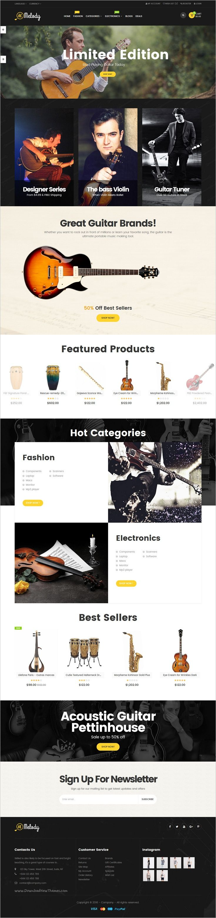 Pav Melody is a creative and powerful 4in1 #Opencart theme for #musical instruments online #shop eCommerce website download now➩ https://themeforest.net/item/pav-melody-best-musical-instruments-opencart-theme/18851193?ref=Datasata
