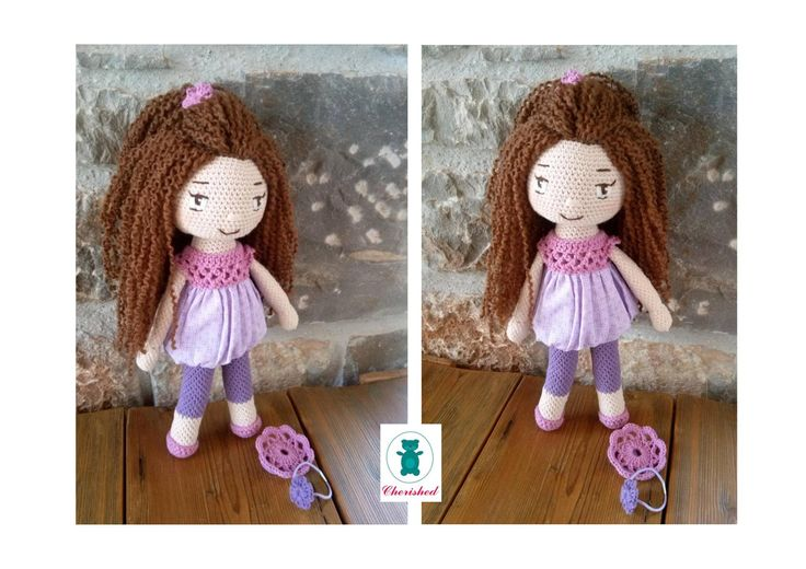 Crochet doll with hair accessories - 32cm Lavender & mauve