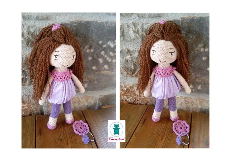 Crochet doll with hair accessories - 32cm Lavender & mauve