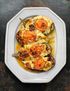Meat Stuffed Eggplants Recipe - Vefa Alexiadou - Greek Recipes - House Beautiful They are called PAPOUSTAKIA!