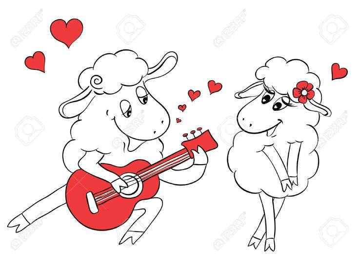 Пара в любви. Романтическая пара овец играть серенаду на гитаре. Идея для поздравительной открытки с Днем свадьбы или День святого Валентина. Мультфильм каракули векторные иллюстрации Клипарты, векторы, и Набор Иллюстраций Без Оплаты Отчислений. Image 30649503.