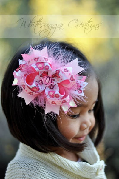 Girl Hair Bow  Puffy Pink Princess Carriage by WhitesugarCreations, $11.95