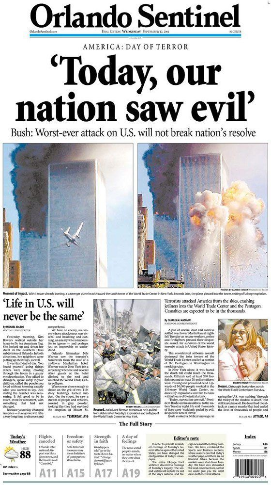 Looking Back: Newspaper Front Pages Covering 9/11 – Parade