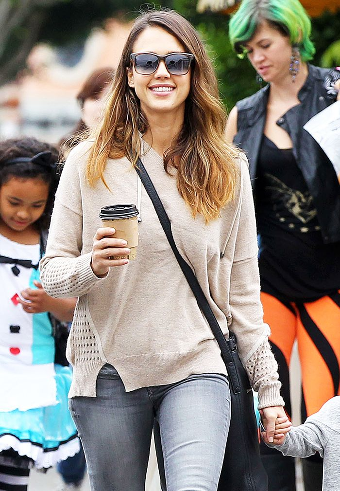 Cool details on this loose sweater.  The+Foolproof+Mom+Wardrobe:+A+Jessica+Alba+Case+Study+via+@WhoWhatWear