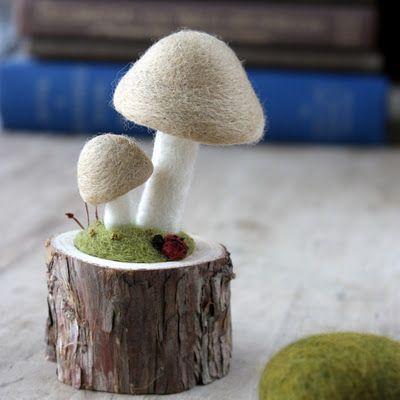 felt mushrooms - lil fish studios ~