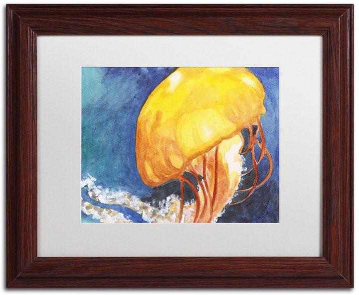 Trademark Fine Art Jelly Fish II Wood Finish Framed Wall Art, Black ...