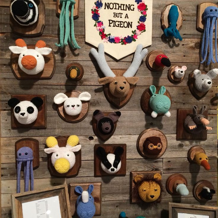 2015 Blue Genie Art Bazaar. Crochet Taxidermy designed by Taylor Hart of Nothing but a Pigeon