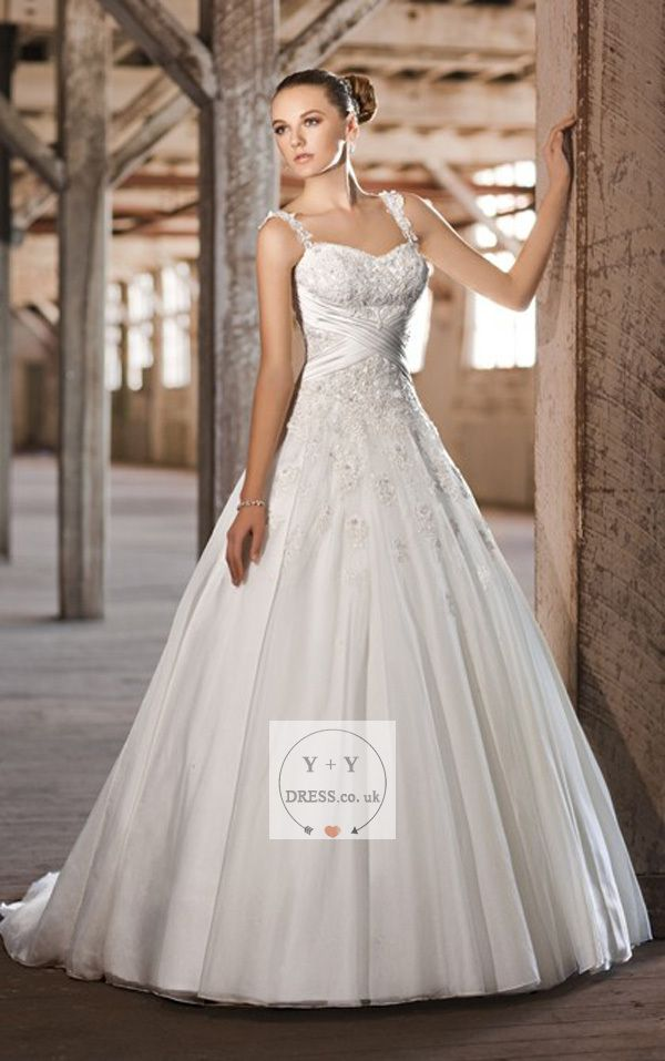 Buy Cheap 2015 Elegant Spaghetti Straps Sweep Train Empire Tulle With Appliques Wedding Dresses