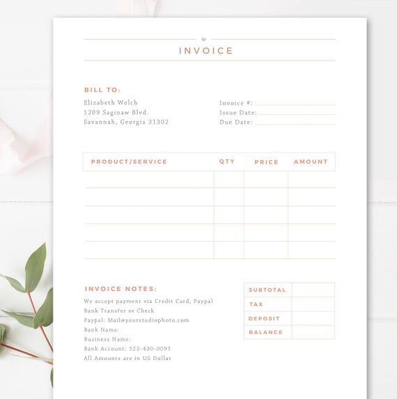 Invoice Template For Photographers Photography Invoice Receipt Form In Adobe Photoshop Ms Word Business Forms Instant Download Photography Invoice Invoice Template Photography Invoice Template