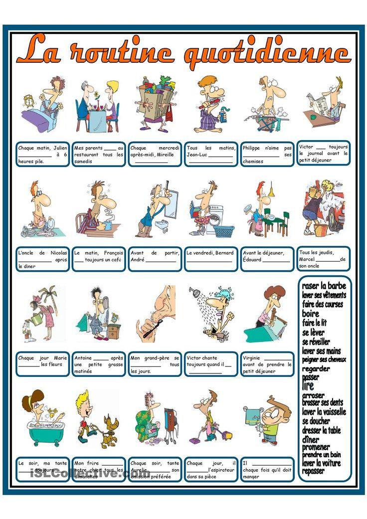 La routine quotidienne + solution fiche d'exercices - Fiches pédagogiques gratuites FLE