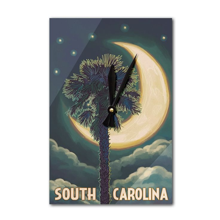 SC - Palmetto Moon & Palm - LP Artwork (Acrylic Wall Clock), Black (Plastic)