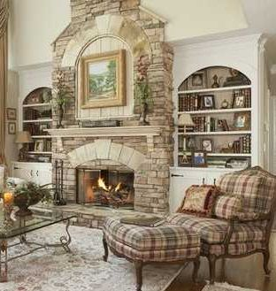 Stone Fireplace With Built In Bookcases.