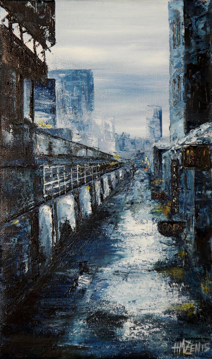 Trabajo en óleo y espátula interpretado - Un bar en la ciudad. Work in oil and spatule interpreted - A Bar in the City. HMZEN'15