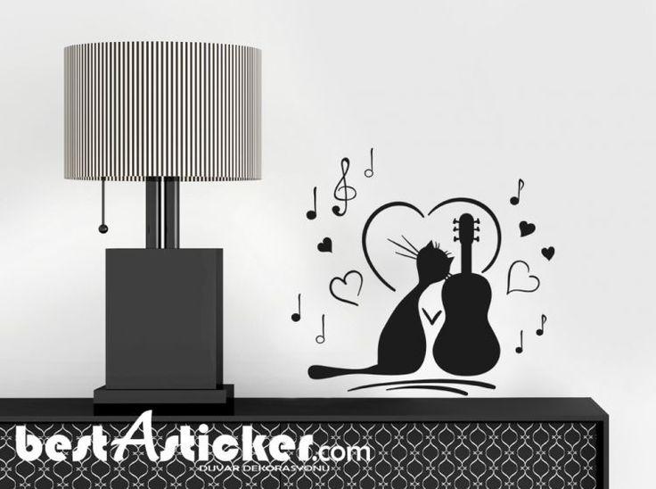 Kedi Keman Ve Müzik Notaları Duvar Sticker Fiyat: 46 TL