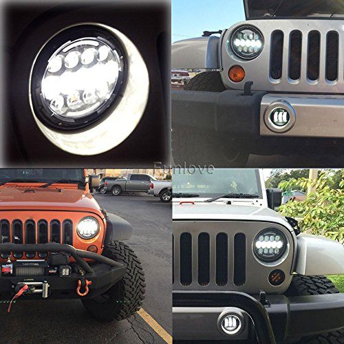 Funlove TJ & JK Jeep Wrangler 7″ Round LED Headlights and Fog Lights