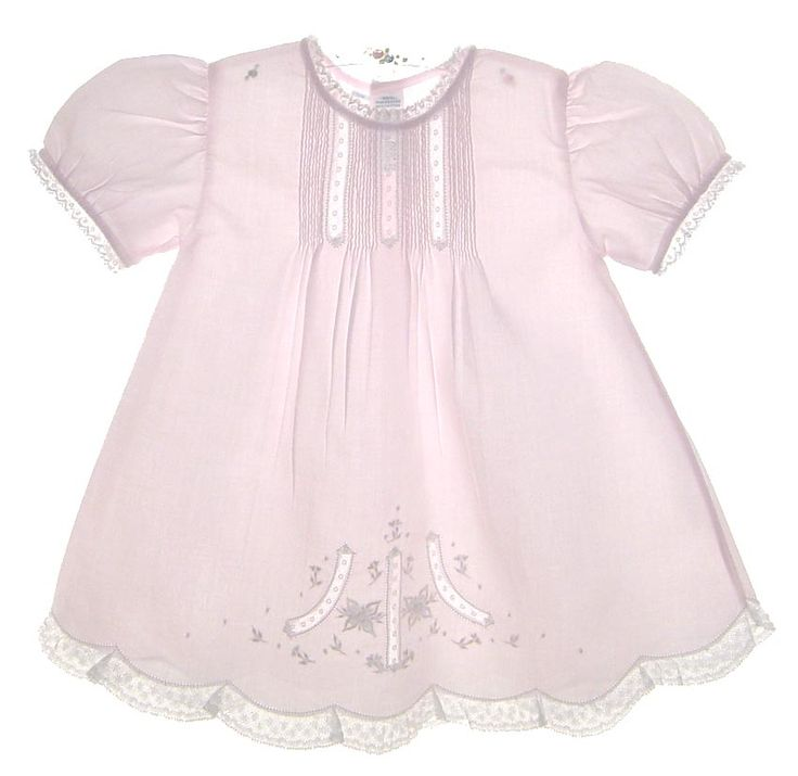 NEW Feltman Brothers Pink Batiste Baby Dress with Embroidery and Lace Insertion $65.00