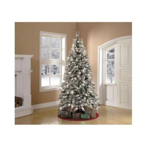 Holiday Christmas Tree Artificial Frost Pine 7.5 Feet Pre Lit Festive Decoration