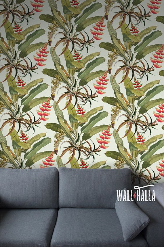 Seamless Self Adhesive Heliconia Flower Pattern Wallpaper - Removable Vintage Wall Decals - Tropical Flower Wall Stickers - Wallpapers