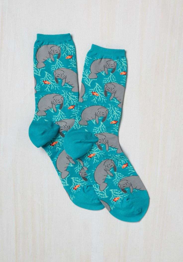 Fits You to a Manatee Socks. Finding a gift for your quirkiest friend is as simple as stumbling upon these nautical socks! #blue #modcloth