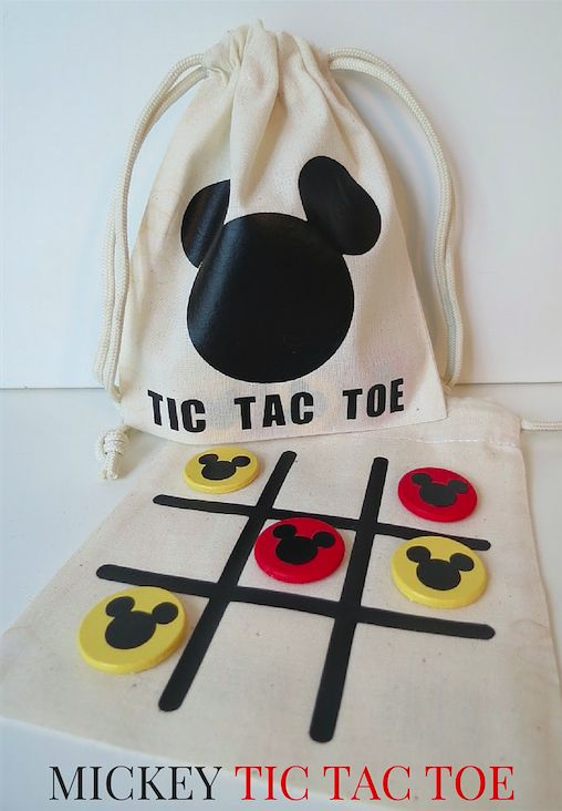 Mickey Tic Tac Toe in a bag with playing board on one side of the bag.