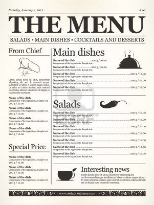 Restaurant menu design. Concept type of old newspaper  Stock Photo