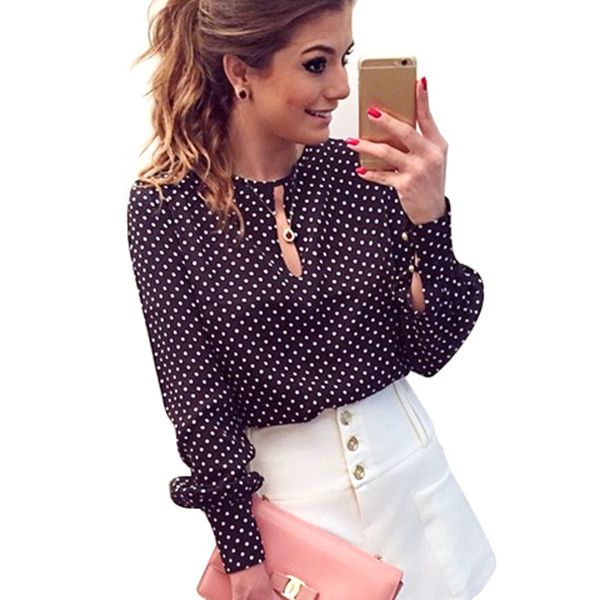New Style Women Casual Round Neck Long Sleeve Blouses Summer Chiffon Polka Dots Shirt Tops