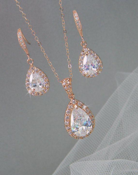 Rose Gold Bridal Set, Bridesmaids Jewelry Set, Crystal Pendant and Earrings, Wedding Jewellery, Ariel Rose Gold Bridal Jewelry SET $65.50 including shipping #GoldJewelry