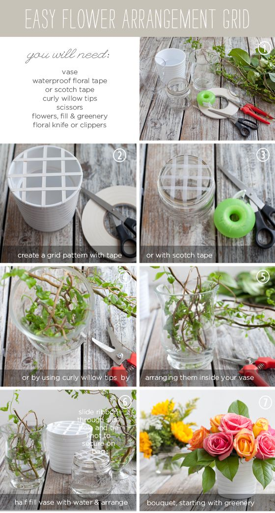 Create a tape grid. This will help create a full bouquet, and help you angle and position your flowers. | 14 Floral Arrangement Hacks That Are Simply Divine