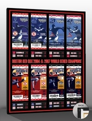 "2004 & 2007 World Series Tickets to History Canvas Print Boston Red Sox - A single print featuring all 2004 & 2007 World Series tickets made from authentic tickets. Scores from all 2004 and 2007 World Series games. Printed on archival canvas and mounted on wooden stretcher bars. Perfect for multiple autographs. Overall size 30""(W) x 22""(H). www.thatsmyticket.com"