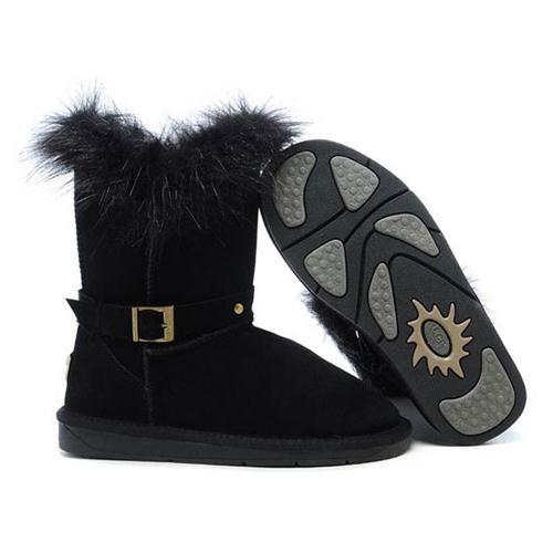 Chaussures Ugg Pas Cher Fox Fur Buckled Noir