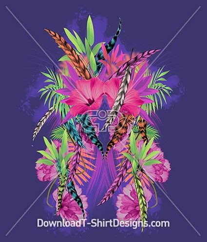 Mirrored Tropical Feather Flower. Download this design and print on your T-Shirts or products today at: http://downloadt-shirtdesigns.com/downloadt-shirtdesigns-com-2122814.html