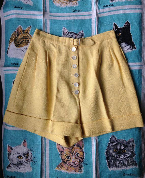 Lino di Jonquil burrosa di vintage 1950 personalizzato shorts XXS, 0, 00
