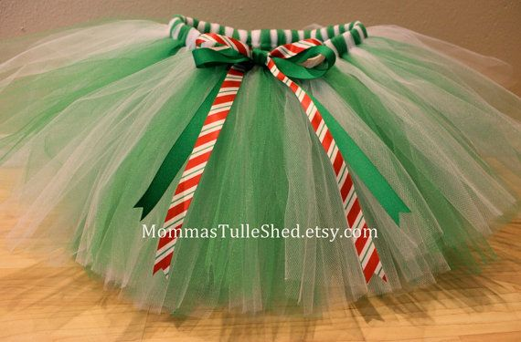 Green and White Christmas Tutu