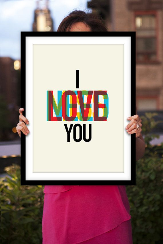 Amour Art impression « I Need Love Miss You » couleur typographique Art Print Wall Decor Poster