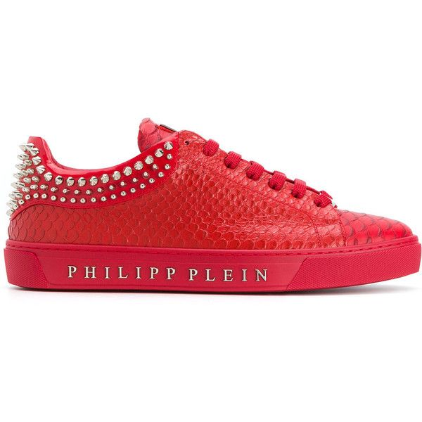 Philipp Plein studded low top sneakers ($960) ❤ liked on Polyvore featuring men's fashion, men's shoes, men's sneakers, red, mens studded shoes, mens round toe shoes, mens low profile sneakers, mens studded sneakers and mens low profile shoes